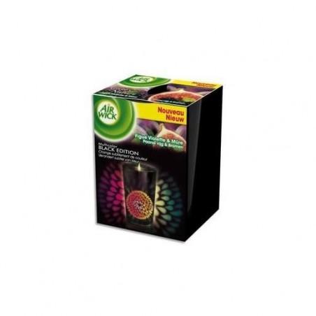 AIRWICK Bougie multicolor Black edition parfum figue violette et mûre, dure jusqu'à 25h