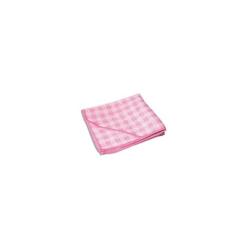 AZURDI Chiffon micro fibre double action spéciale sanitaire, format 32 x 32 cm coloris rose