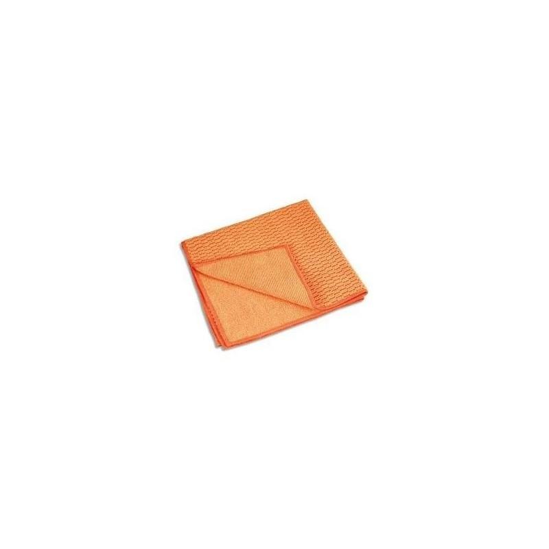 AZURDI Chiffon micro fibre double face spéciale bois et surface moderne, format 40 x 40 cm coloris orange