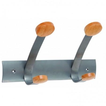 ALBA Doubles patères et crochets embouts en bois 30 x 15,6 x 9,36 cm gris aluminium