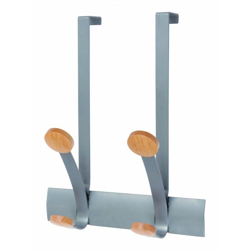 ALBA Doubles patères et crochets de porte en métal et bois