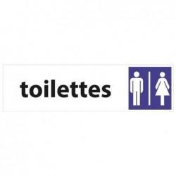"PAVO Plaque de signalisation auto-adhésive aluminium ""Toilettes H/F"" L17 x H4,5 cm"