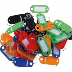 PAVO Boîte de 20 portes clés avec anneaux Coloris assortis