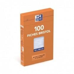 OXFORD Etui distributeur de 100 fiches bristol perforées 210g 12,5x20cm 5x5 blanc