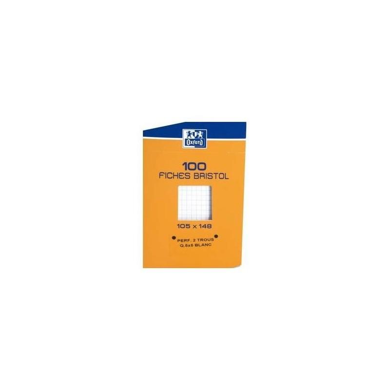 OXFORD Etui distributeur de 100 fiches bristol perforées 210g 10,5x14,8cm 5x5 blanc