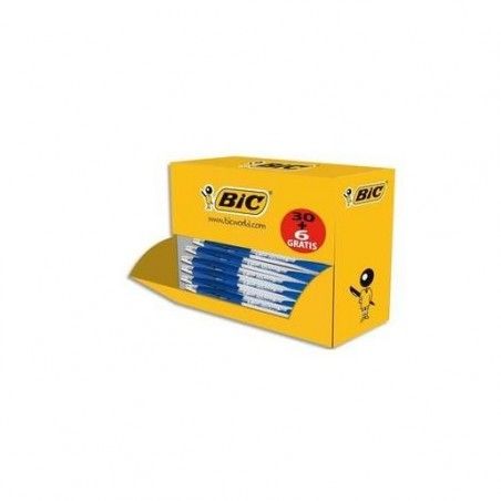 BIC Pack éco de 30+6 stylo bille ATLANTIS bleu, pointe moyenne, rechargeable