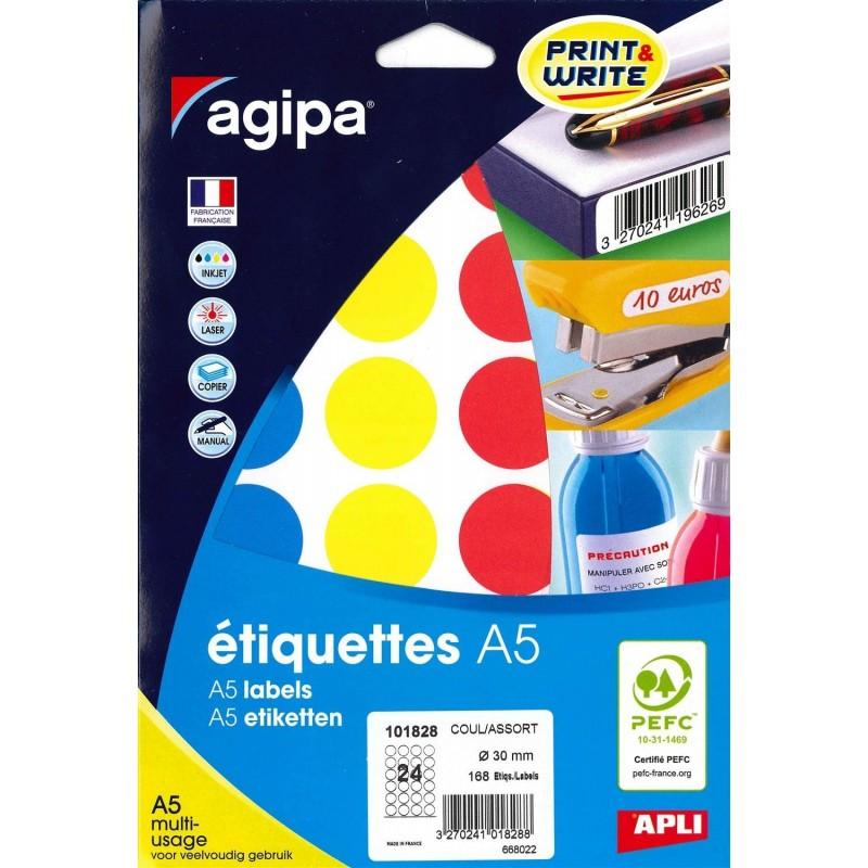 AGIPA Etui A5 ( 7 F ) de 168 Pastilles Gommettes Rondes 30 mm Assorties