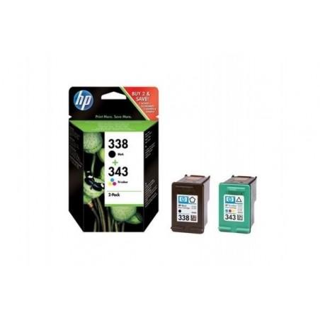 HP Combo pack 2 Cartouches Jet d'encre 338/343 Noir et couleur SD449EE