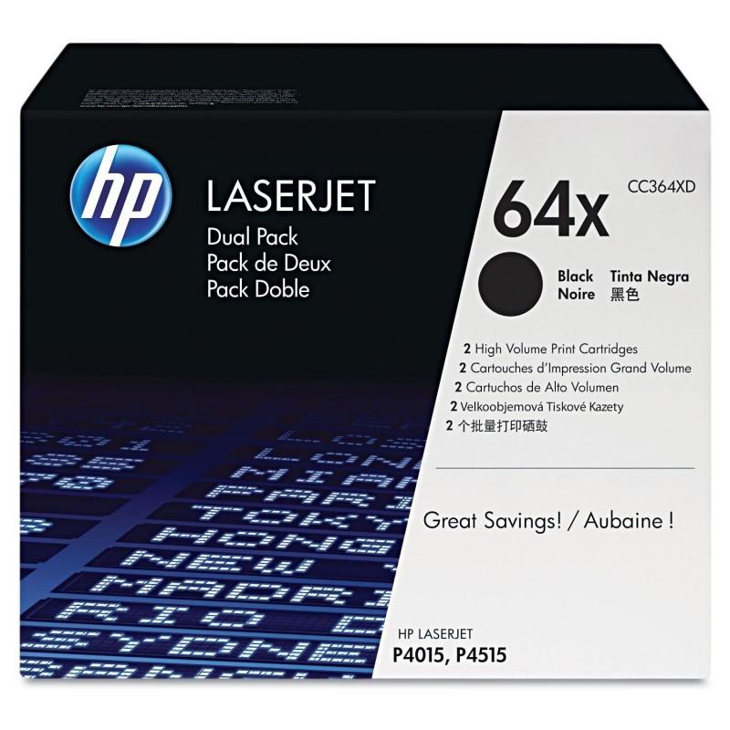 HP Lot de 2 cartouches laser Originale N° 64X  CC364XD 24000 Pages Noir