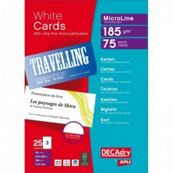 DECADRY Pochette 75 cartes de visite blanches MicroLine - 185g 210 x 99 mm
