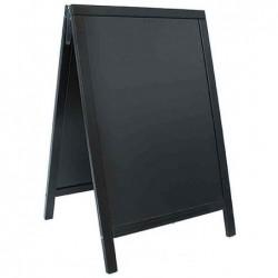 SECURIT Panneau trottoir WOODY avec tableau Noir Cadre Noir 55 x 85 cm