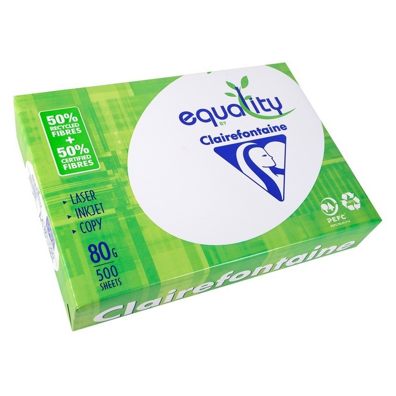 EQUALITY Ramette 500 Feuilles Papier 80g A4 210x297 mm Certifié PEFC 50% Recyclé  Blanc