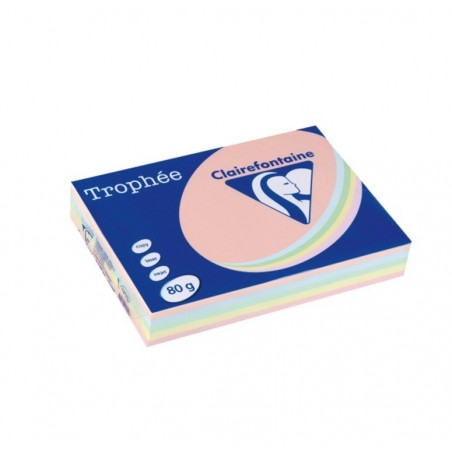 TROPHÉE Ramette 500 Feuilles Papier 80g A4 210x297 mm Certifié FSC  Assorti Pastel