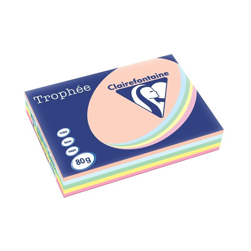 TROPHÉE Ramette 500 Feuilles Papier 80g A3 420x297 mm Certifié FSC  Assorti Pastel