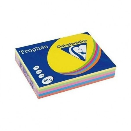TROPHÉE Ramette 500 Feuilles Papier 80g A4 210x297 mm Certifié FSC  Assorti Fluo