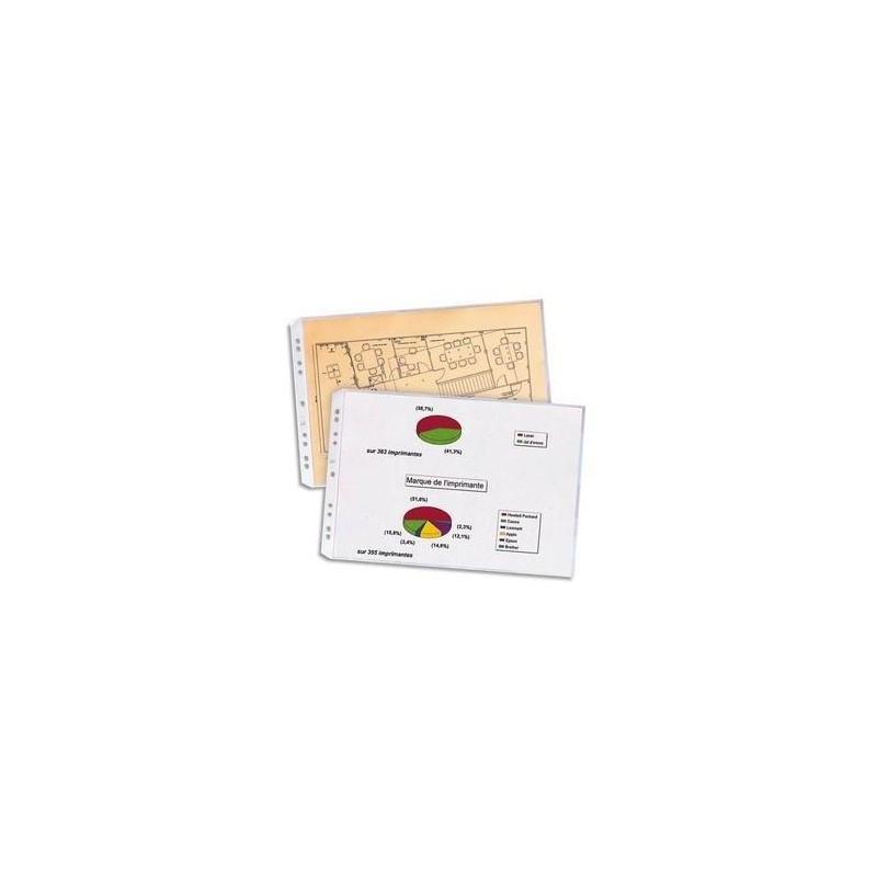 ELBA Sachet de 10 pochettes perforées SM A3 italienne en PVC 10/100e