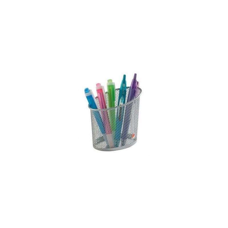 ALBA Pot à crayons en metal argenté MESHCUP M
