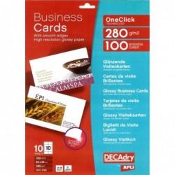 DECADRY Pochette 100 cartes de visite blanches brillantes OneClick - 280g  85 x 54 mm