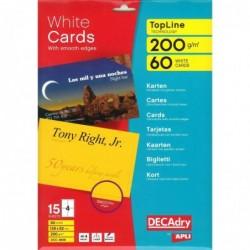 DECADRY Pochette 60 cartes de visite blanches TopLine - 200g 128 x 82 mm