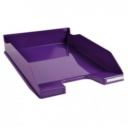 EXACOMPTA Corbeille à courrier Iderama. Coloris violet glossy. Dim. L34,7 x H6,5 x P25,5 cm