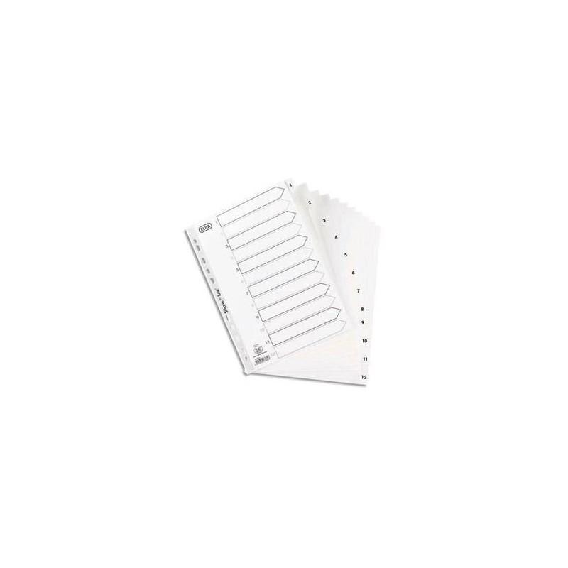 ELBA Répertoire numérique 12 positions en polypropylène 15/100e, coloris blanc