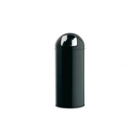 ROSSIGNOL Poubelle avec couvercle à trappe en métal 45 Litres Push - Diamètre 31, hauteur 77,5 cm noir