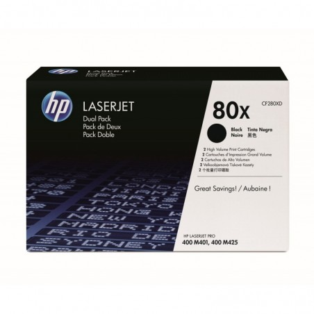 HP Pack 2 cartouches laser noires XL CF280XD