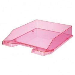 HAN Corbeille à courrier coloris transparent rose néon
