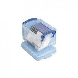 REALLY USEFUL BOXES Boîte de rangement de 0,3 Litre + couvercle - Dimensions : L12 x H6,5 x P8,5 cm coloris transparent
