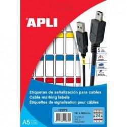 APLI Etui A5 ( 5F ) de 120 étiquettes Spéciale Câble permanente 19,1x48,8 mm Assorties