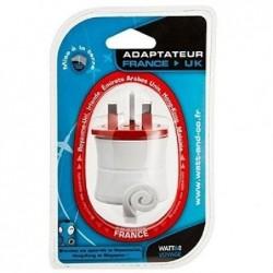WATT & CO Adaptateur de voyage France vers Royaume-uni 125Vac 15A + blanc rouge
