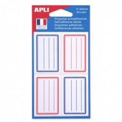 AGIPA Pochette de 24 étiquettes scolaires cadres et lignés 36X56mm bleu et rouge