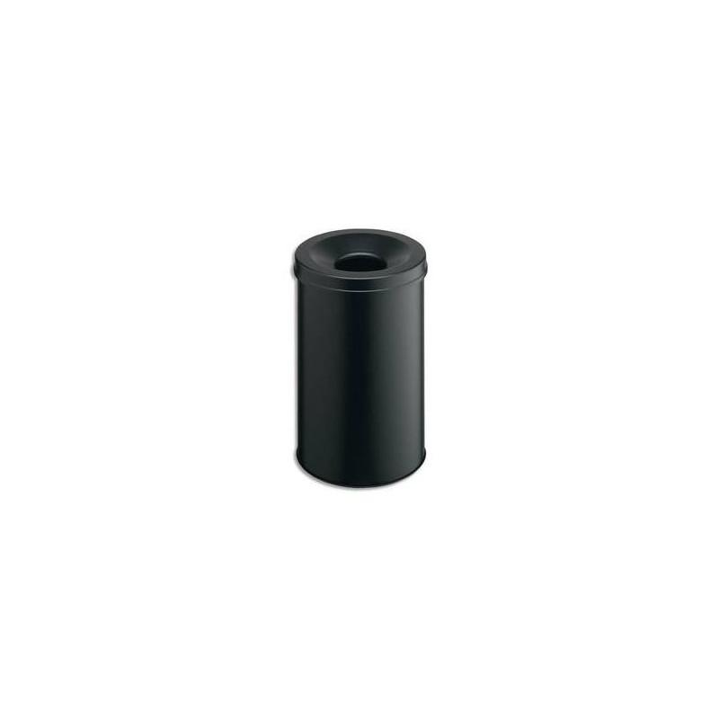 DURABLE Corbeille à papier métal avec étouffoir 30 litres noir Diam 31,5 x H 49,2 cm
