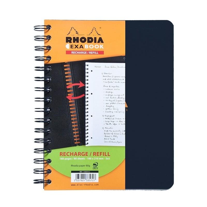RHODIA Recharge pour EXABOOK spirale A5+ 160 pages perforées+détachables 5X5