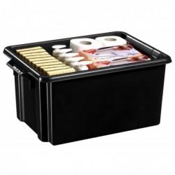 CEP Bac de rangement superposable avec poignée 52 x 35 x 24,3 cm 32 litres Noir