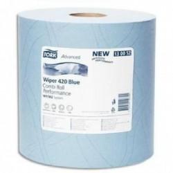 TORK Lot de 2 bobines Papier d'essuyage Plus Combi Roll 2 plis 750 formats prédécoupés 255m bleu
