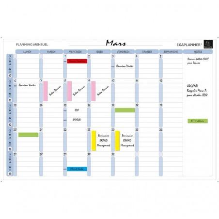 EXACOMPTA Planning mensuel magnétique 90x59cm vendu en kit avec de nombreux accessoires