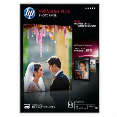 HP Boîte 50 feuilles papier photo Premium Plus A4 300g Blanc brillant