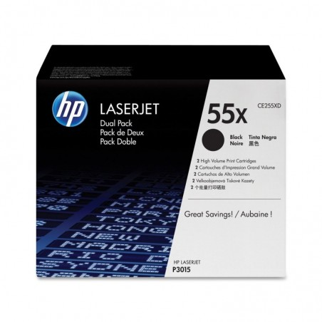 HP Lot de 2 Toner Laser Original CE255XD 2 x 12500 Pages Noir