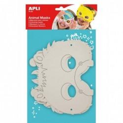 APLI Sachet de 6 masques à Colorier Animaux assortis en carton