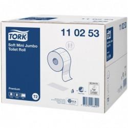TORK Colis 12 Bobines Papier toilette Mini Jumbo Premium 2 plis L170 m x D18 cm blanc