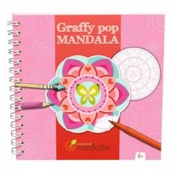 AVENUE MANDARINE Bloc spirale 36 pages 250g  GRAFFY POP Mandala Filles