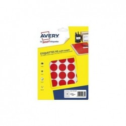 AVERY Sachet de 400 pastilles Ø24 mm. Imprimables. Coloris rouge.