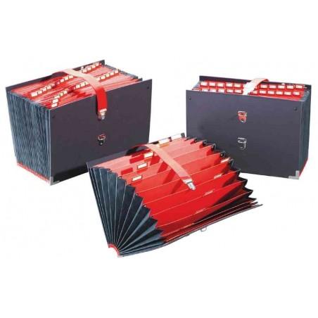 EXTENDOS Trieur de bureau accordéon 25 compartiments noir, couverture toilée