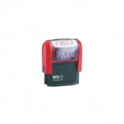 COLOP Timbre à encrage automatique , empreinte rouge 38x14 mm : PAYE