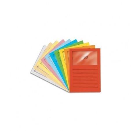 Boîte de 100 pochettes coins en carte 120g, avec fenêtre, 22x31cm, jaune vif