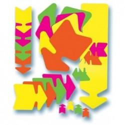 AGIPA Paquet de 10 éclatés fluo effaçable à sec 16 x 24 cm