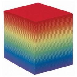 QUO VADIS Recharge bloc cube arc en ciel 9x9x7,5cm 580 feuilles mobiles 90g PEFC
