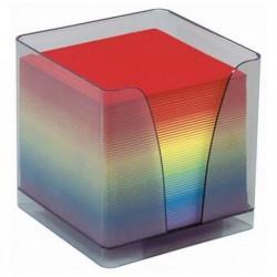 QUO VADIS Boîtier plexi fumé + recharge bloc couleur 580 feuilles 90g 9x9x9 cm