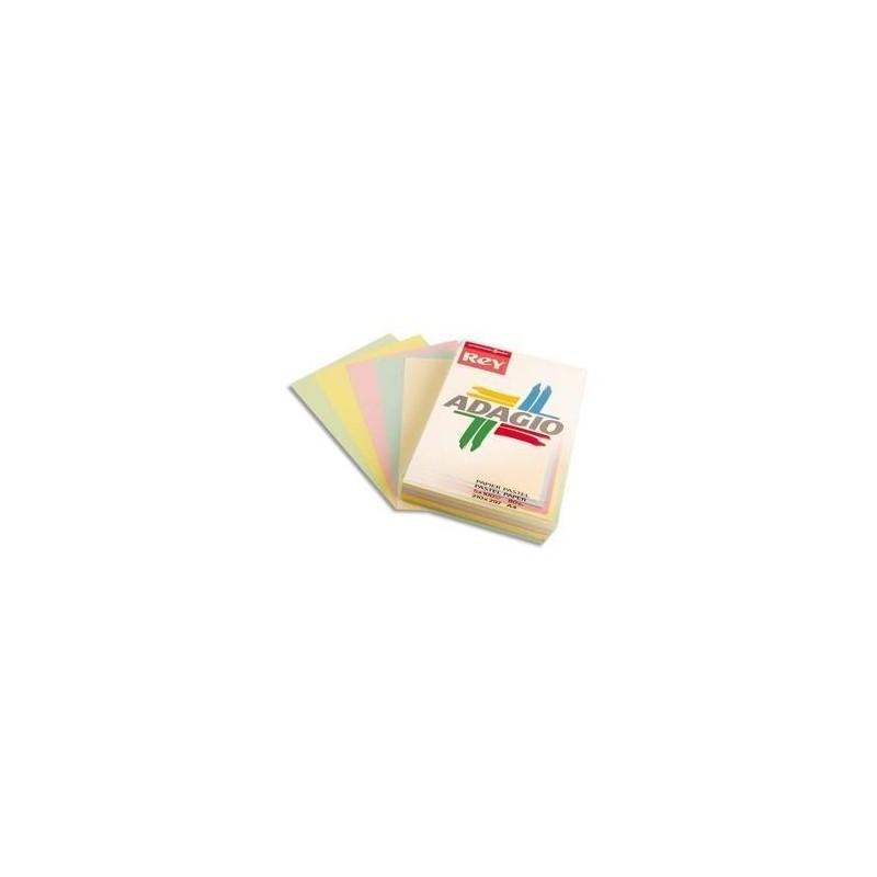 PAPETERIES DE FRANCE PAPYRUS Ramette 50 feuilles x 5 teintes ADAGIO 160g format A4 assortis pastel et vif